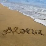 Aloha im Sand geschrieben